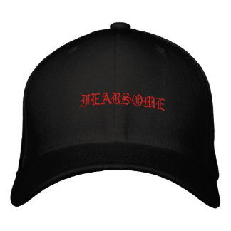 Black and Red Fearsome Mens Hat Ole English Baseball Cap