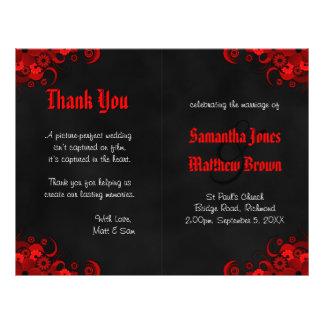 Black and Red Floral Goth Bi-Fold Wedding Program 21.5 Cm X 28 Cm Flyer