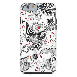 Black And Red Floral Swirls And Hearts Tough iPhone 6 Case