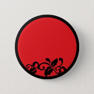 black and red flourish 6 cm round badge