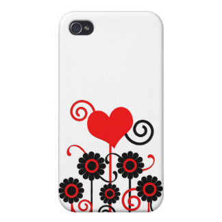 Black and red flowers, hearts & swirls iPhone case Covers For iPhone 4