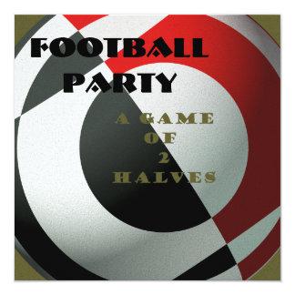 "Black and Red Footballs 5.25"" Square Invitation Card"