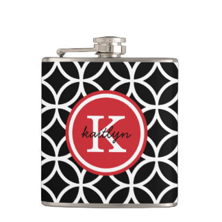 Black and Red Geometric Diamonds Custom Monogram Hip Flask