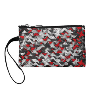 Black and Red Geometric Explosion Coin Purse
