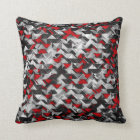 Black and Red Geometric Explosion Cushion