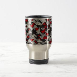 Black and Red Geometric Explosion Travel Mug