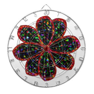 Black and Red Glitter Flower Dart Board