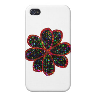 Black and Red Glitter Flower  Covers For iPhone 4