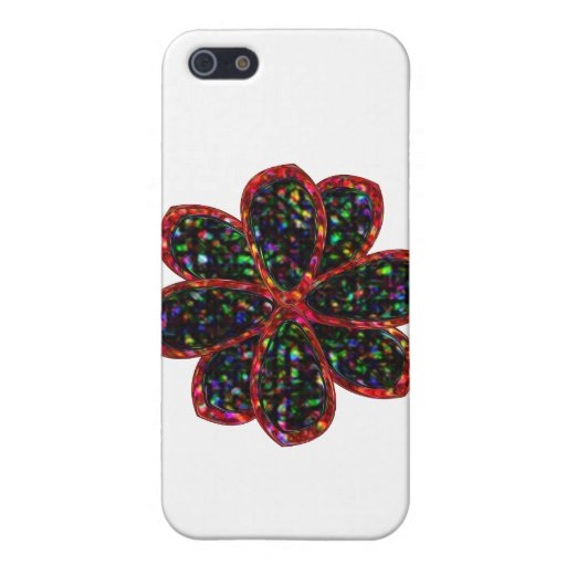 Black and Red Glitter Flower  Case For iPhone 5