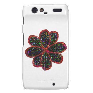 Black and Red Glitter Flower Motorola Case Motorola Droid RAZR Cover