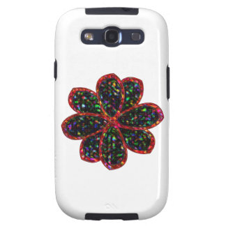 Black and Red Glitter Flower Samsung Case Galaxy SIII Cover