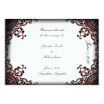 Black and Red Gothic Scroll Wedding Save the Date