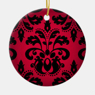 Black and red gothic victorian vintage damask christmas ornament
