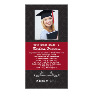 Black and red Graduation Announcement Photo Card