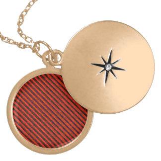 Black and Red Hazard Striped Round Locket Necklace
