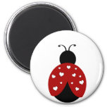 Black and Red Heart Ladybug 6 Cm Round Magnet