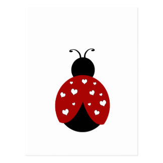 Black and Red Heart Ladybug Postcard