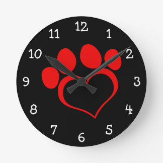 Black and Red Heart Paw Round Clock