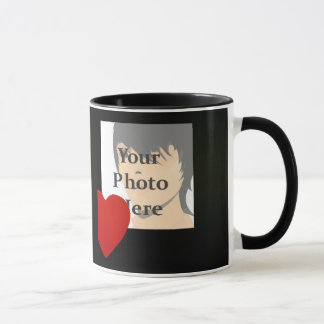 Black and Red Heart Photo Frame Mug