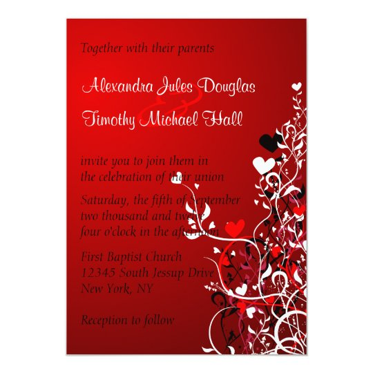 Black and red heart swirls wedding 5x7 invitation