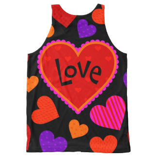 Black and Red Hearts of Love Cute Tank Top All-Over Print Tank Top