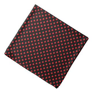 Black And Red Hearts Polka Dot Pattern Bandana