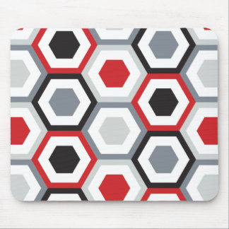 Black and Red Hexagons Pattern Mouse Mat
