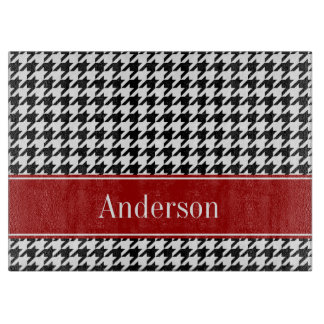 Black and Red Houndstooth Pattern Personalized Cutting Board