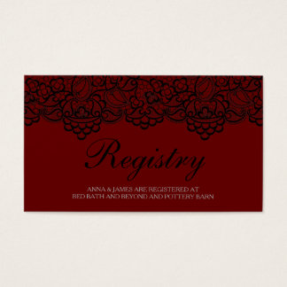 Black and Red Lace Wedding Registry Card