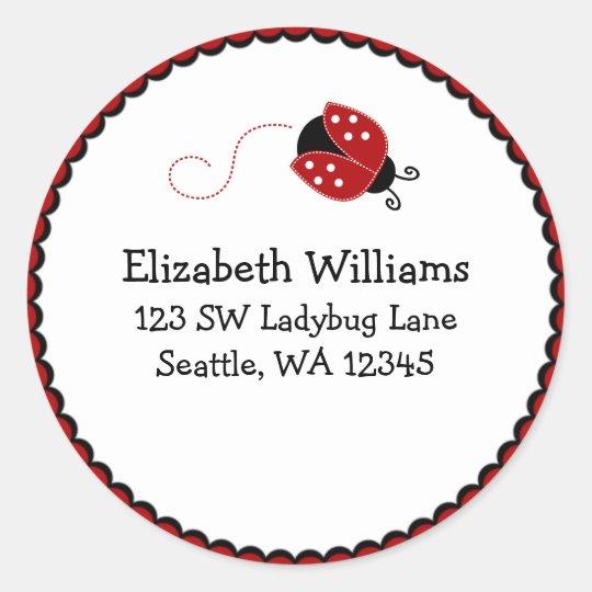 Black and Red Ladybug Round Address Sticker Label
