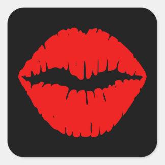 Black and Red Lipstick Square Sticker