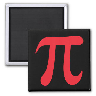 Black and red mathematical pi symbol magnet