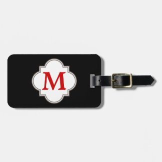 Black and Red Monogram Emblem Tags For Luggage