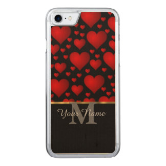 Black and red monogram love heart pattern carved iPhone 8/7 case