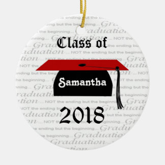 Black and red Mortar cap Graduation Ornament