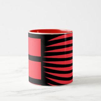 Black and red mystical geometry Two-Tone coffee mug