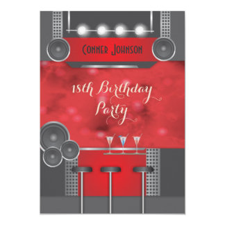 Black and red night club 18th birthday invitation