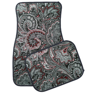Black and Red Paisley Pattern Car Mats