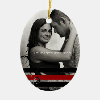 Black and Red Photo Engagement Ornament