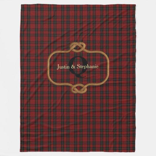 Black and Red Plaid Custom Fleece Blanket