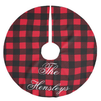 Black and Red Plaid Custom Monogram Tree Skirt