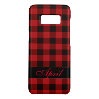 Black and red plaid -monogrammed Case-Mate samsung galaxy s8 case