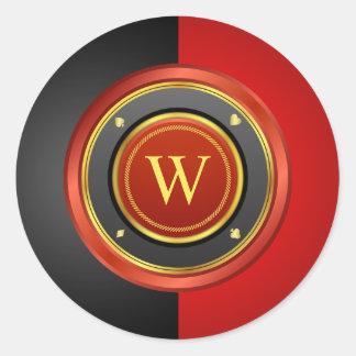 Black and Red Poker Chip with Custom Monogram Round Sticker