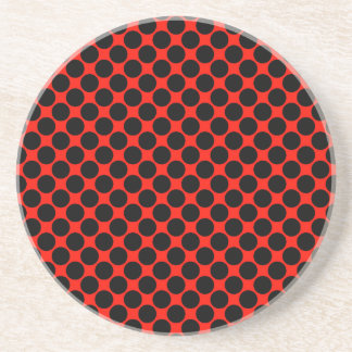 Black and Red Polka Dots Beverage Coasters