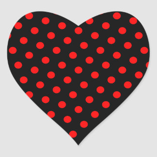 Black and Red Polka Dots Heart Sticker
