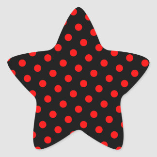 Black and Red Polka Dots Star Sticker