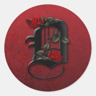 Black and Red Rose Monogram D Sticker