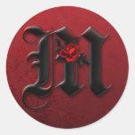 Black and Red Rose Monogram M Sticker