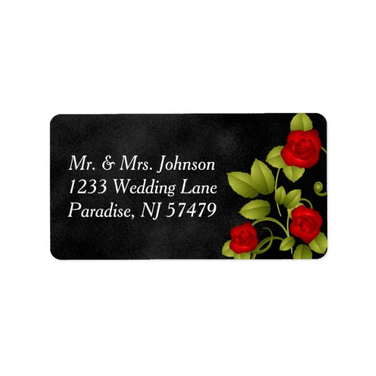 Black and Red Rose Wedding Label