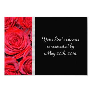 Black and Red Roses RSVP 9 Cm X 13 Cm Invitation Card
